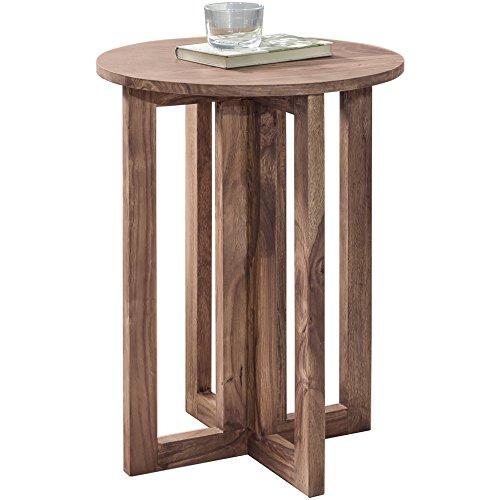 WOHNLING Beistelltisch Massiv-Holz Design Wohnzimmer-Tisch 45 x 45 cm rund Couchtisch Natur-Holz dunkel-braun Nachttisch Landhaus-Stil Nachtkommode Echtholz Anstelltisch Telefontisch 60 cm hoch