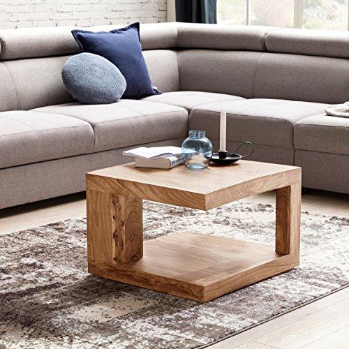 WOHNLING Couchtisch aus Massivholz Beistelltisch | Wohnzimmertisch 58 cm im Landhaus-Stil | Design Holz-Tisch Natur-Produkt Nachttisch | Echt-Holz Massivholztisch Wohnzimmer-Möbel Kaffeetisch