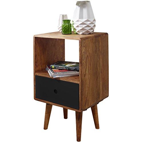 WOHNLING Retro Nachtkonsole REPA / Sheesham-Holz Nachttisch mit Schublade | Design Nachtkästchen 40 x 35 x 70 cm | Großes Nachtschränkchen