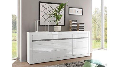JUSTyou Edelstein Kommode Sideboard Schrank (HxBxT): 90x217x42 cm Weiß Matt | Weiß Hochglanz