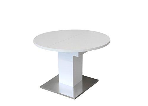 0588/104 Tisch rund weiss matt / Edelstahloptik Esszimmertisch Küchentisch Speisezimmer ausziehbar auf 144 cm