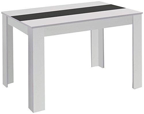 CAVADORE 80348 Esstisch NICO / Moderner, praktischer Küchentisch 140 x 80 cm in Melamin Weiß mit Mittelplatte in weiß oder schwarz / Esszimmertisch in Weiß / 140 x 80 x 75 cm (L x B x H)