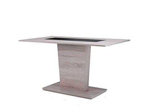 CAVADORE Esszimmertisch VENGA 110 cm breit / Moderner Esstisch mit Melaminplatte in Schwarz oder Weiß / Säulentisch in Melamin Sonoma Eiche / 110 x 70 x 75 cm (LxBxH)