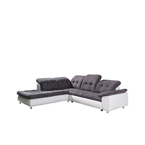 Design Ecksofa Sevilla, Eckcouch mit Bettkasten und Schlaffunktion, einstellbare Kopfstützen, Moderne Schlafsofa Polsterecke, Elegante L-Form Couch Couchgarnitur (Ecksofa Links, Soft 1 + Bonn 95)
