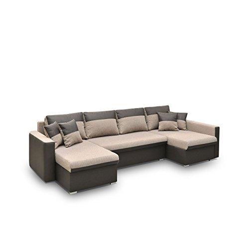 Ecksofa Flavio U, Eckcouch mit 3-Bettkasten und Schlaffunktion, Design Schlafsofa Inklusive Kissen-Set Polsterecke, Elegante U-Form Couch Couchgarnitur (Ecksofa Rechts, Eternity 1131 + Sumatra 4)