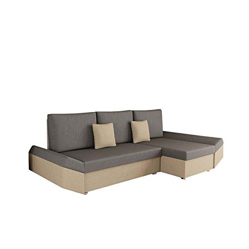Ecksofa Moric Style, Eckcouch Sofa mit Schlaffunktion und Bettkasten! inkl. Kissen Couch, Ottomane Universal, Schlafsofa Bettsofa vom Hersteller (Alova 07 + Alova 36)