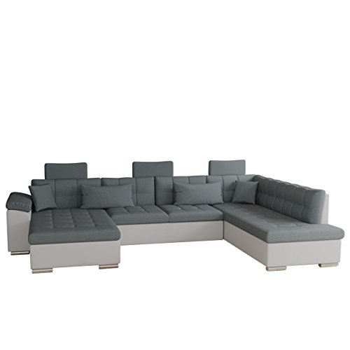 Ecksofa Presto Bris Bis mit Schlaffunktion, Bettkasten und Kopfstützen, Schwerentflammbar, Technologie Cleanaboo, Eckcouch mit Bettfunktion, Sofagarnitur (Seite: links, Soft 017 + Bristol 2446)