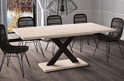 Esstisch Mila ausziehbar 130cm - 180cm Sonoma Eiche Küchentisch Design bi colour Säulentisch
