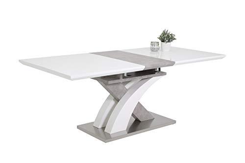 Esstisch Vivian, Holzwerkstoff Dekor HGL weiߟ-betonoptik, Bodenplatte Edelst.-optik, Klappeinlage, 160-200 x 90 x 76 cm