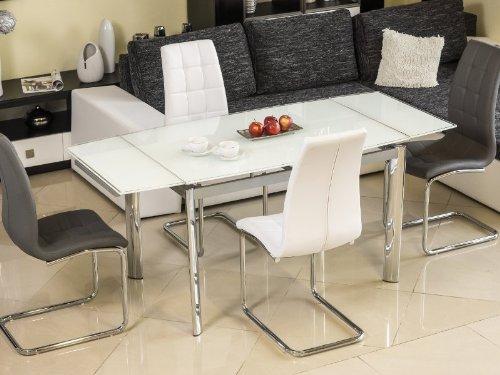 Jadella Esszimmertisch Honey Glastisch ausziehbar Weiß