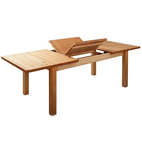 Krok Wood Esstisch Massivholz Buche 100% FSC London Klapptisch Esszimmertisch Massivholz Tisch (160 x 90 x 75 cm) (228(160+68) x90x75 cm)