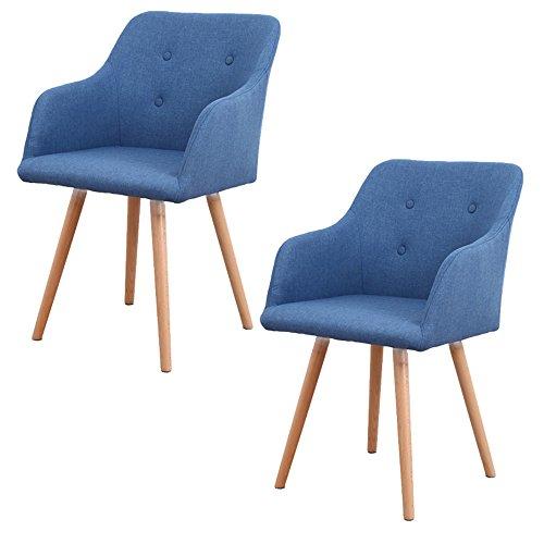 MCTECH® 2x Stuhl Esszimmerstühle Esszimmerstuhl Stuhlgruppe Konferenzstuhl Küchenstuhl Armlehne Büro mit Massivholz Eiche Bein (Type A, Blau)