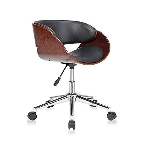 MY SIT Design Stuhl Retro Drehstuhl Bürostuhl Vintage Antik Kunstleder Drehhocker Wohnzimmerstuhl Esszimmerstuhl Drehsessel Höhenverstellbar - Hazel in Schwarz/Braun