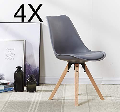 P&N Homewares (Satz von 4 Sofia Eiffelturm Inspiriert Stuhl aus Kunststoff Retro Weiß Schwarz Grau Rot Gelb Pink Grün Blau weiß Skandinavischen Stuhl (Grau)