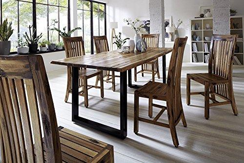 SAM® Stilvoller Esszimmertisch Ida aus Akazie-Holz, Baumkantentisch mit lackierten Beinen aus Roheisen, naturbelassene Optik mit Einer Baumkanten-Tischplatte, 160 x 85 cm