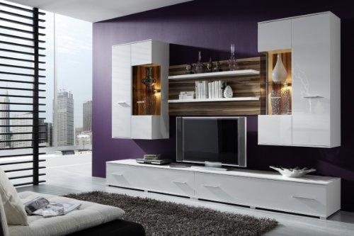 Wohnwand STOCKHOLM Anbauwand in Weiß, Fronten in Hochglanz Weiß, Beleuchtung:ohne Beleuchtung