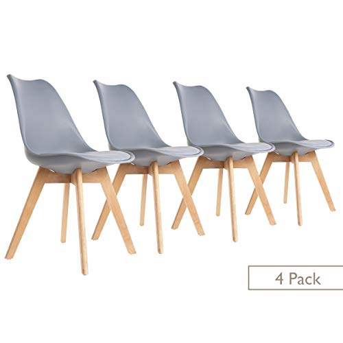ease Esszimmerstühle 4er Set mit Massivholz Buche Bein Weichen Gepolsterten, Retro Design Gepolsterter Stuhl Küchenstuhl für Esszimmer Wohnzimmer Schlafzimmer Küche(Grau)