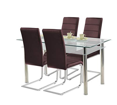 agionda ® Esstisch Jule 140 x 80 + Stuhlset Jan Piet ® 4er Satz mit hochwertigem PU Kunstleder in braun