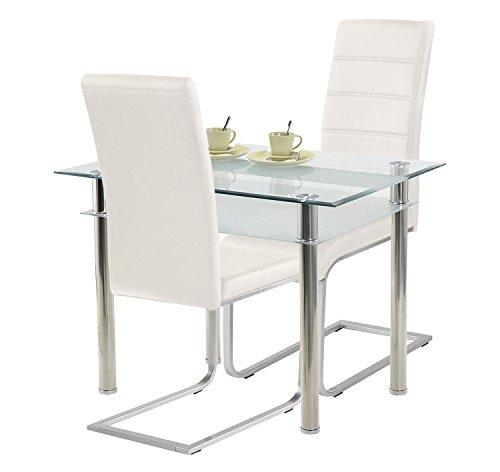 agionda ® Esstisch Kay Jake 120 x 70 + Stuhlset Jan Piet ® 2er Satz Hochwertiges PU Kunstleder weiß