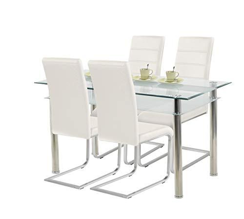 agionda ® Esstisch Kay Jake 140 x 80 + Stuhlset Jan Piet ® 4er Satz mit hochwertigem PU Kunstleder Weiss