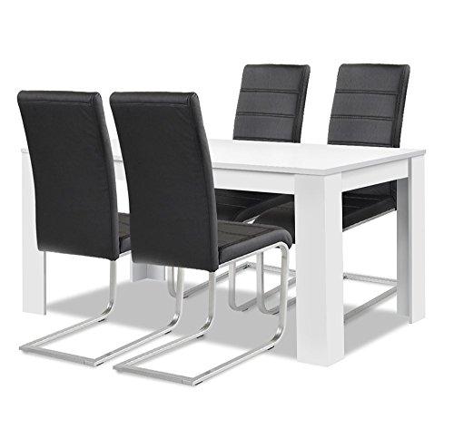 agionda ® Esstisch + Stuhlset :1 Esstisch Toledo Weiss 120 x 80 + 4 Freischwinger schwarz