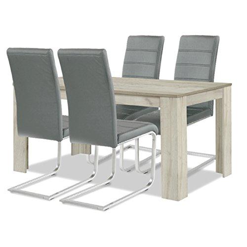 agionda ® Esstisch + Stuhlset : 1 x Esstisch Toledo Eiche Sandeiche 140 x 90 + 4 Freischwinger Stuhl grau