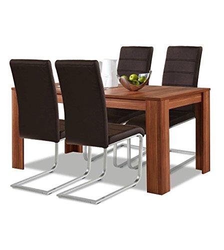agionda ® Esstisch Stuhlset 1 x Esstisch Toledo Nussbaum 140 x 90 + 4 Freischwinger braun Hochwertiges PU Kunstleder