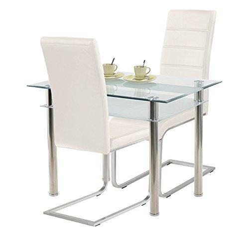 agionda ® Esstisch Turin + Stuhlset Jan Piet ® 2er Satz Hochwertiges PU Kunstleder in weiß