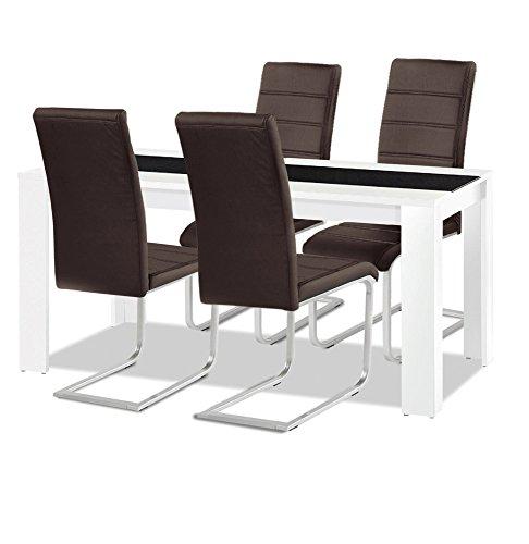 agionda Esstisch + Stuhlset : 1 x Esstisch Jamaika + 4 Freischwinger braun