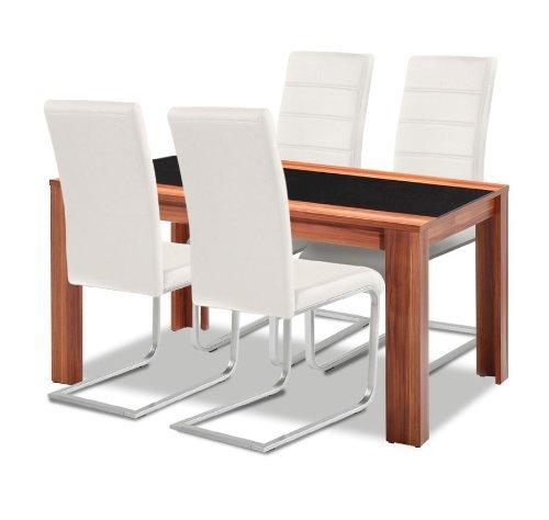 agionda Esstisch + Stuhlset : 1 x Esstisch Orlando Nussbaum mit Schwarzglas + 4 Freischwinger Weiss