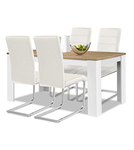 agionda® Esstisch + Stuhlset : 1 x Esstisch Toledo 140 x 90 Wildeiche/Weiss + 4 Freischwinger Kunstleder PU weiß
