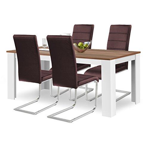 agionda® Esstisch + Stuhlset : 1 x Esstisch Toledo 160 x 90 Nussbaum/Weiss + 4 Freischwinger Kunstleder PU braun