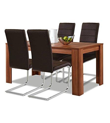 agionda® Esstisch + Stuhlset : 1 x Esstisch Toledo Nussbaum 120 x 80 + 4 Freischwinger braun Hochwertiges PU Kunstleder
