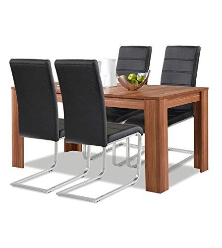 agionda® Esstisch + Stuhlset : 1 x Esstisch Toledo Nussbaum 140 x 80 + 4 Freischwinger schwarz