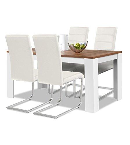 agionda® Esstisch + Stuhlset : 1 x Esstisch Toledo Nussbaum Weiss 140 x 90 + 4 Freischwinger Weiss