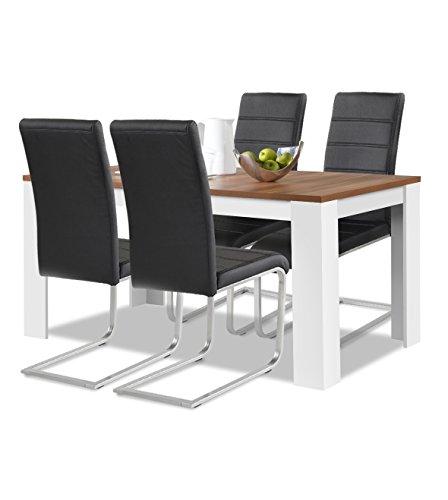 agionda® Esstisch + Stuhlset : 1 x Esstisch Toledo Nussbaum/Weiss 120 x 80 + 4 Freischwinger schwarz