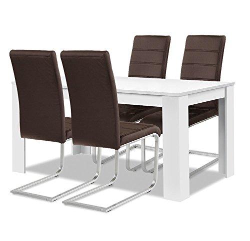 agionda® Esstisch + Stuhlset : 1 x Esstisch Toledo Weiss 120 x 80 + 4 Freischwinger braun