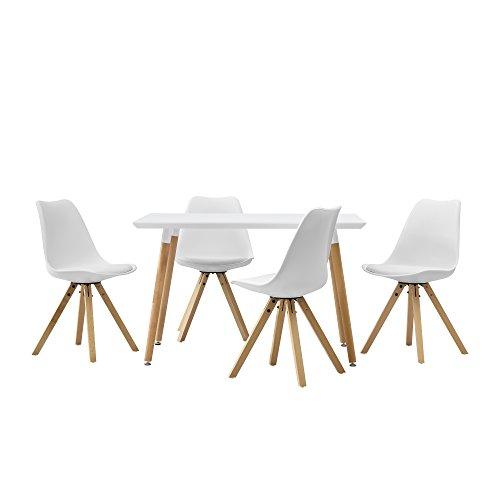 [en.casa] Esstisch mit 4 Stühlen weiß Gepolstert 120x70cm Kunstleder Esszimmer Essgruppe Küche