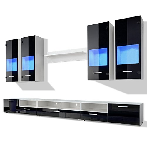 vidaXL 8tlg.Hochglanz Wohnwand Anbauwand TV Board Mediawand Schrankwand LED Beleuchtung