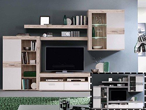 "Wohnwand Mediawand Schrankwand TV-Wand Anbauwand Wohnzimmerwand ""Aguste I"""