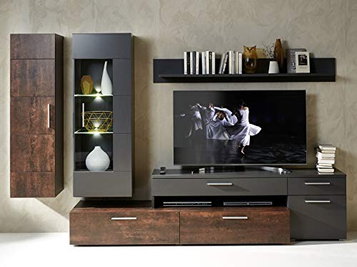 möbelando Wohnwand Anbauwand Mediawand Schrankwand Wohnzimmerwand TV-Wand Rockford I