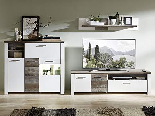 möbelando Wohnwand Mediawand Schrankwand Wohnzimmerwand TV-Wand Anbauwand Mila III