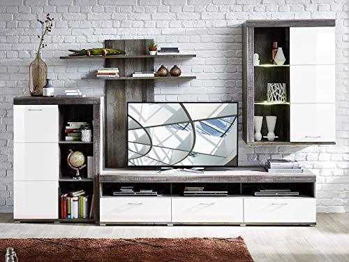 möbelando Wohnwand Schrankwand Mediawand Anbauwand TV-Wand Wohnzimmerwand Laraine III
