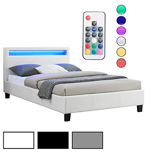 CARO-Möbel Polsterbett Einzelbett Kunstlederbett MIRASOL, in 3 Farbvarianten mit LED Beleuchtung, 120 x 200 cm, inklusive Lattenrost